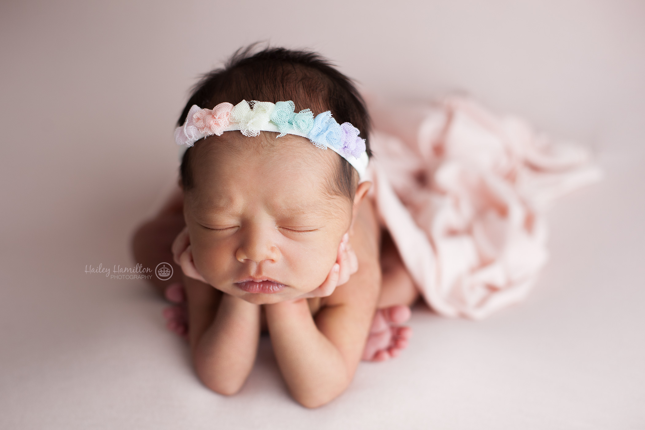 Rainbow baby photography with rainbow bow headband