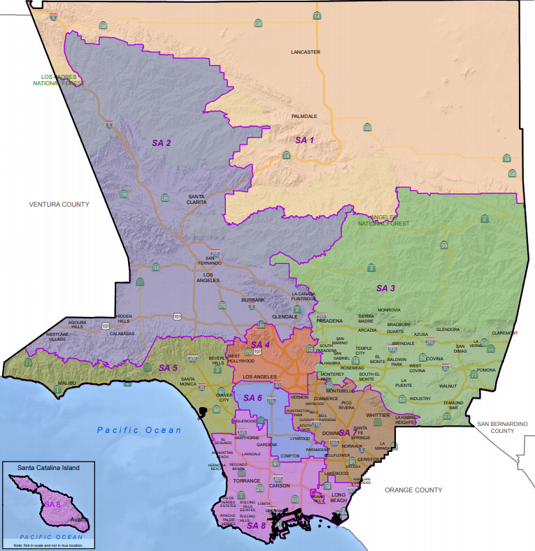 Los Angeles County Department of Mental Health Service Area Map