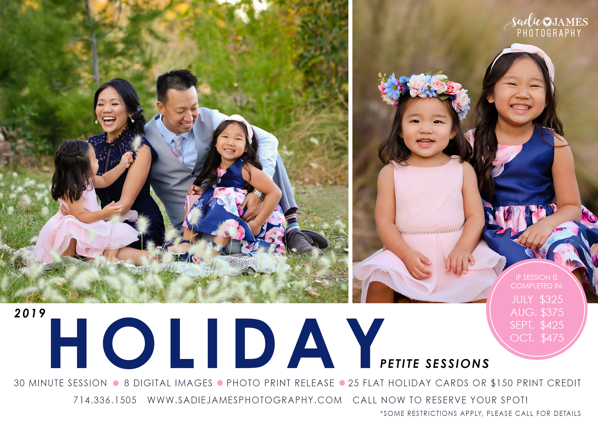 Petite Holiday Session options with Sadie James Photography