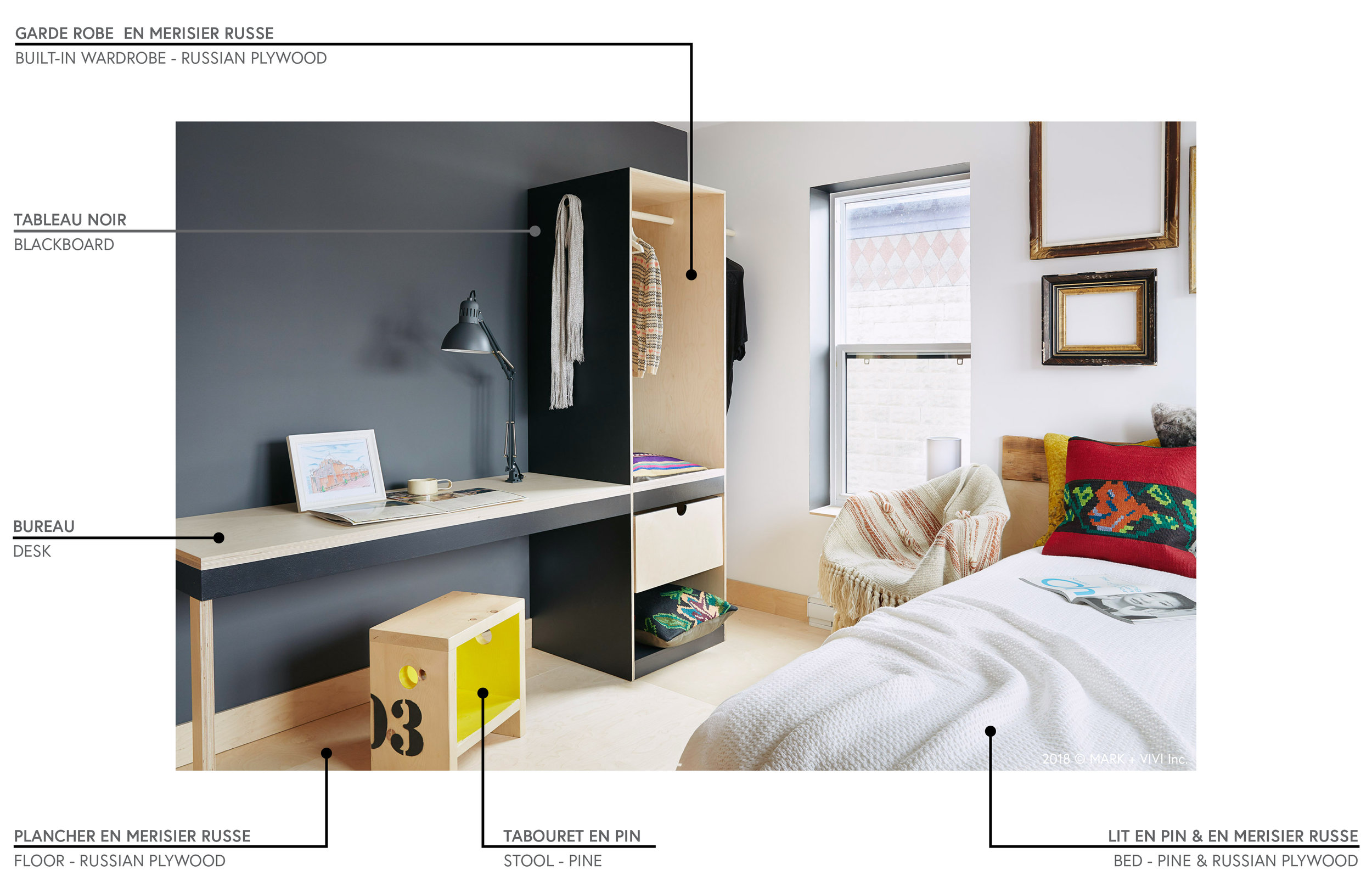Modèle de chambre meublée  | Model of furnished bedroom
