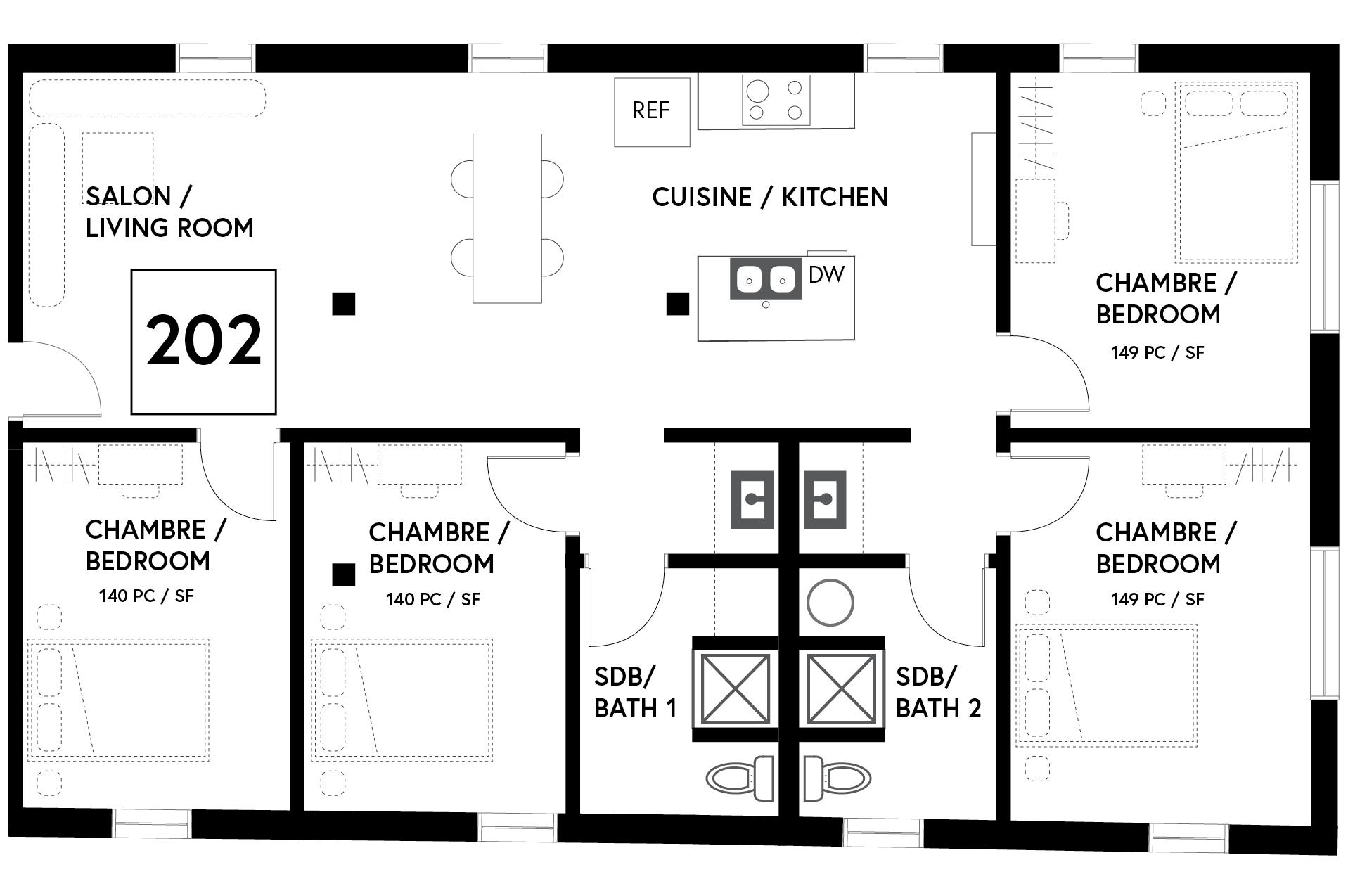 Plan : 1323 PC / Floor Plan : 1323 SF