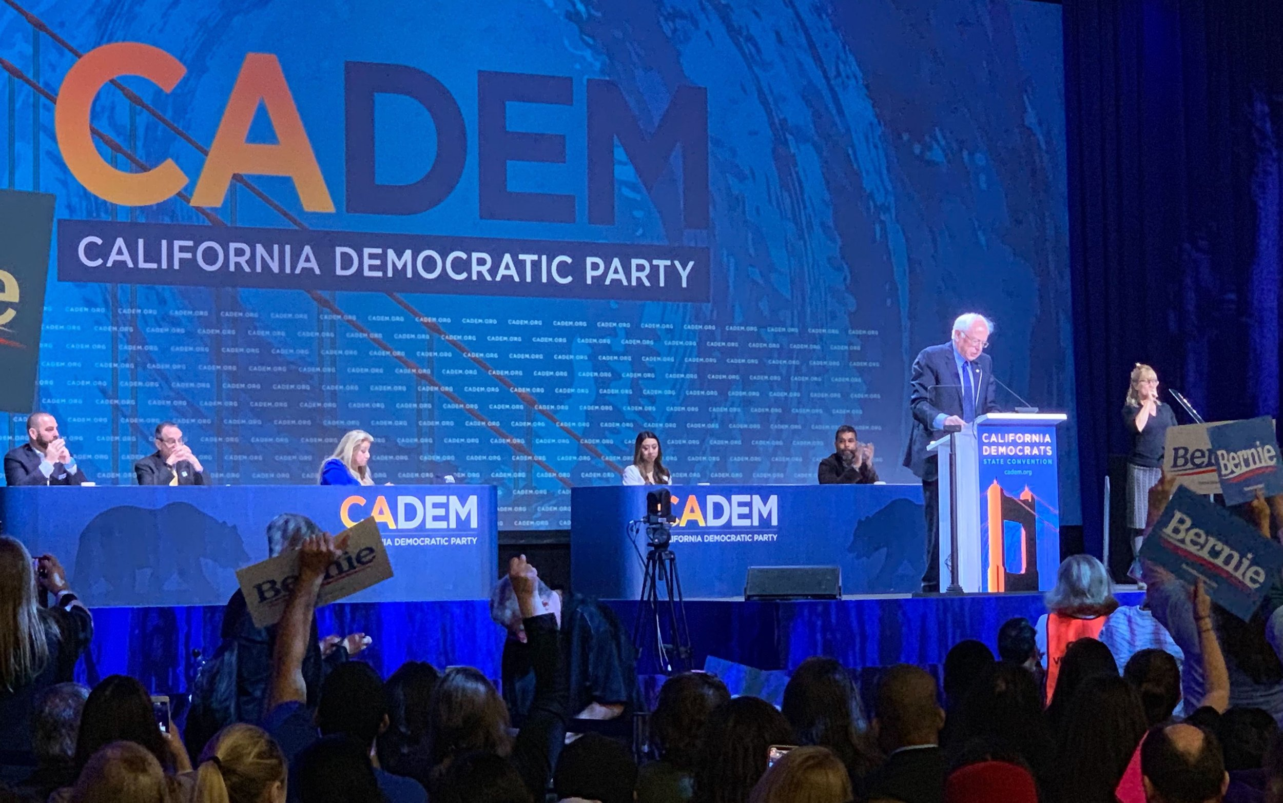 2020 Presidential Candidate Senator Bernie Sanders addresses the crowd at the 2019 California Democratic Party State Convention