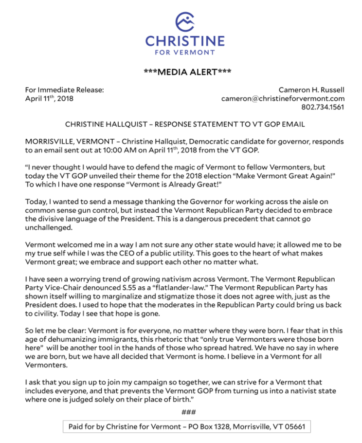 April 11th Press Release