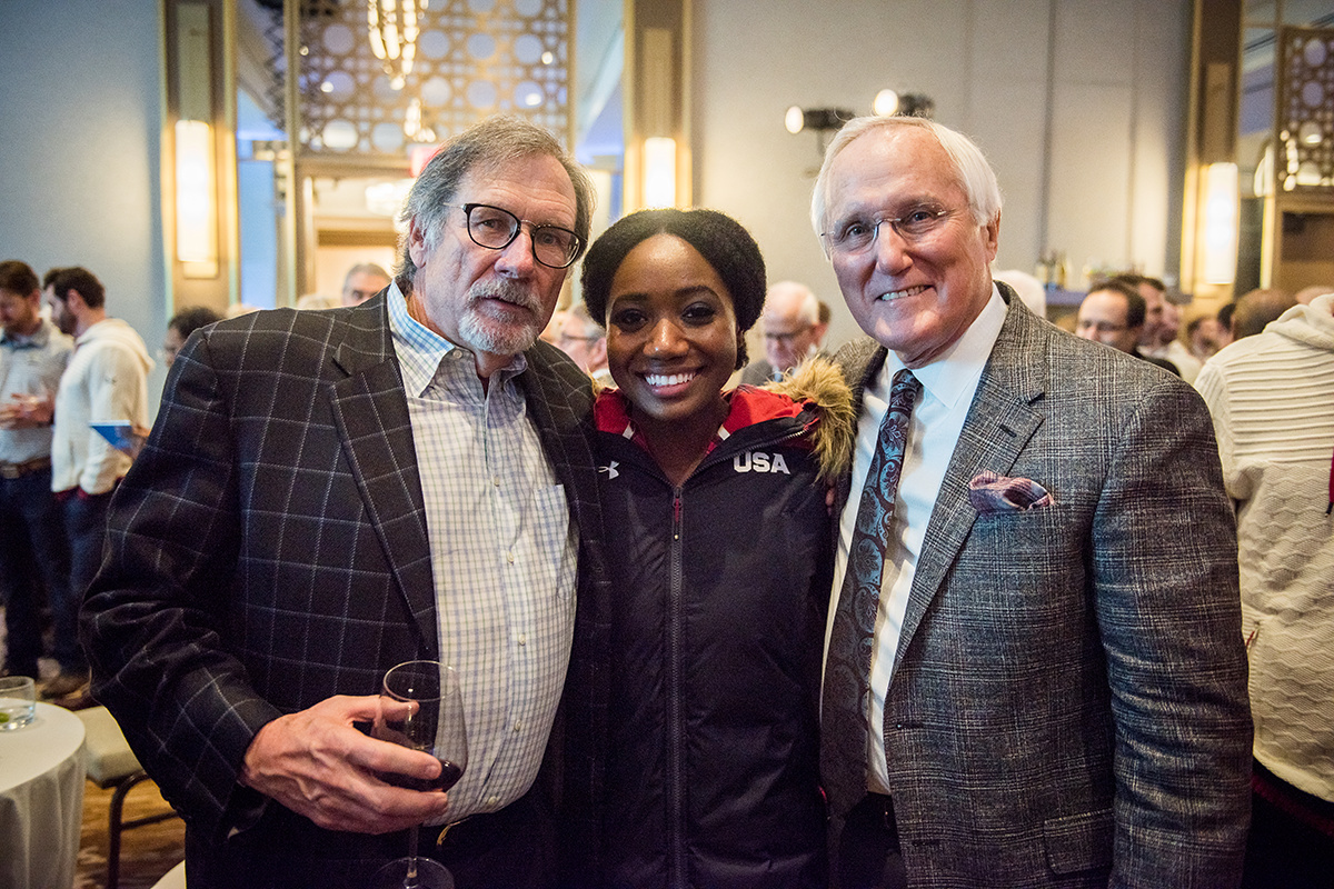 Fran Kirley and Pete Converse flank bobsledder Briauna Jones at the 2018 Pre-Olympics fundraiser in Washington, DC.