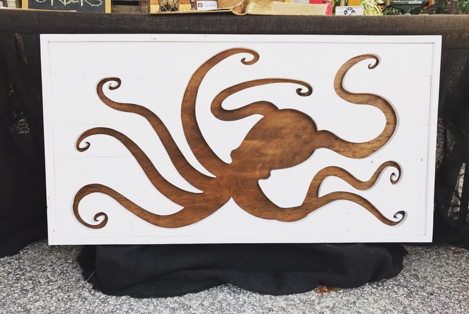 "42""x24"" Octopus, White and Red Chesnut, $300"
