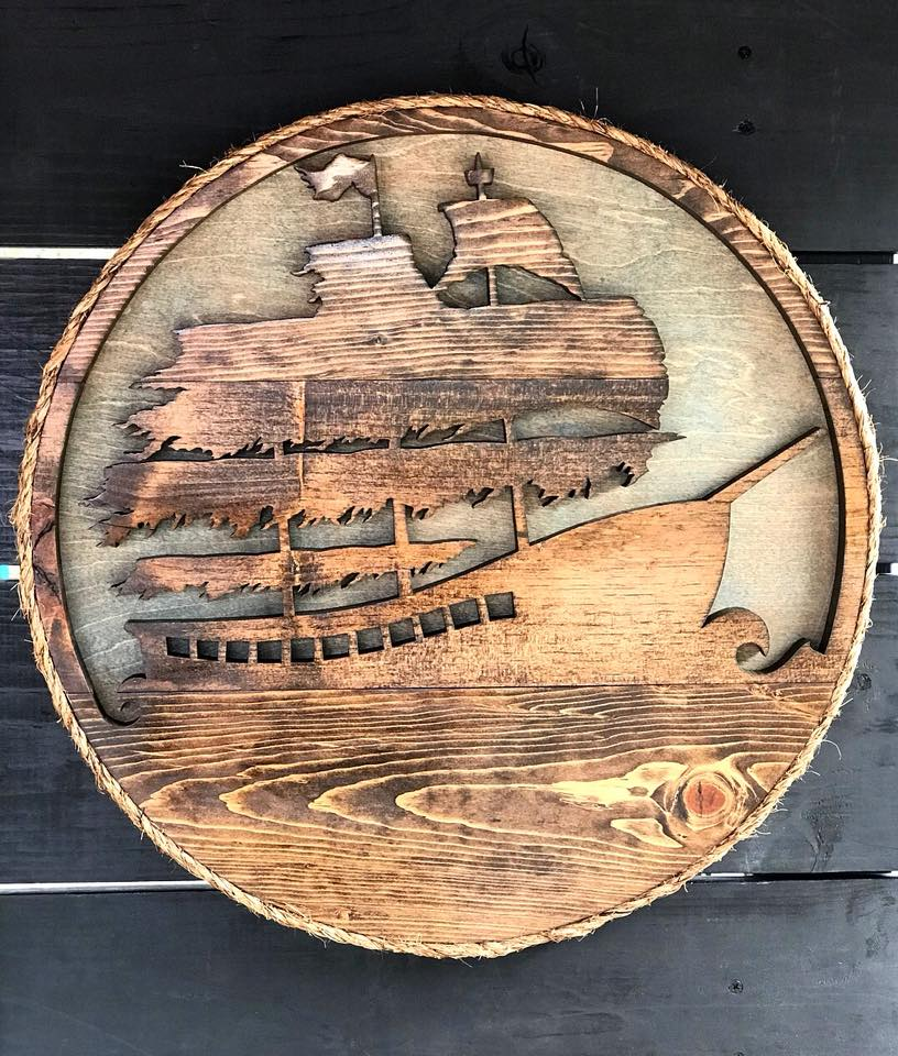 Custom hand-drawn and cut Pirate Ship - Espresso & Classic Gray backing - $375 - Available