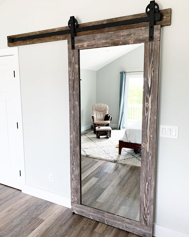 Custom mirrored barn door install today 🛠 •  bobsbuilds.com bobs.builds@yahoo.com • • • •  #wood #woodwork #woodworking #woodworkforall #beachhouse #beachdecor #customdesign #homedecor #handmade #handcrafted #staugustine #stauglocals #smallbusiness #shopsmall #interiordesign #interiordecor #barndoor #barndoors #mirror #mirrors