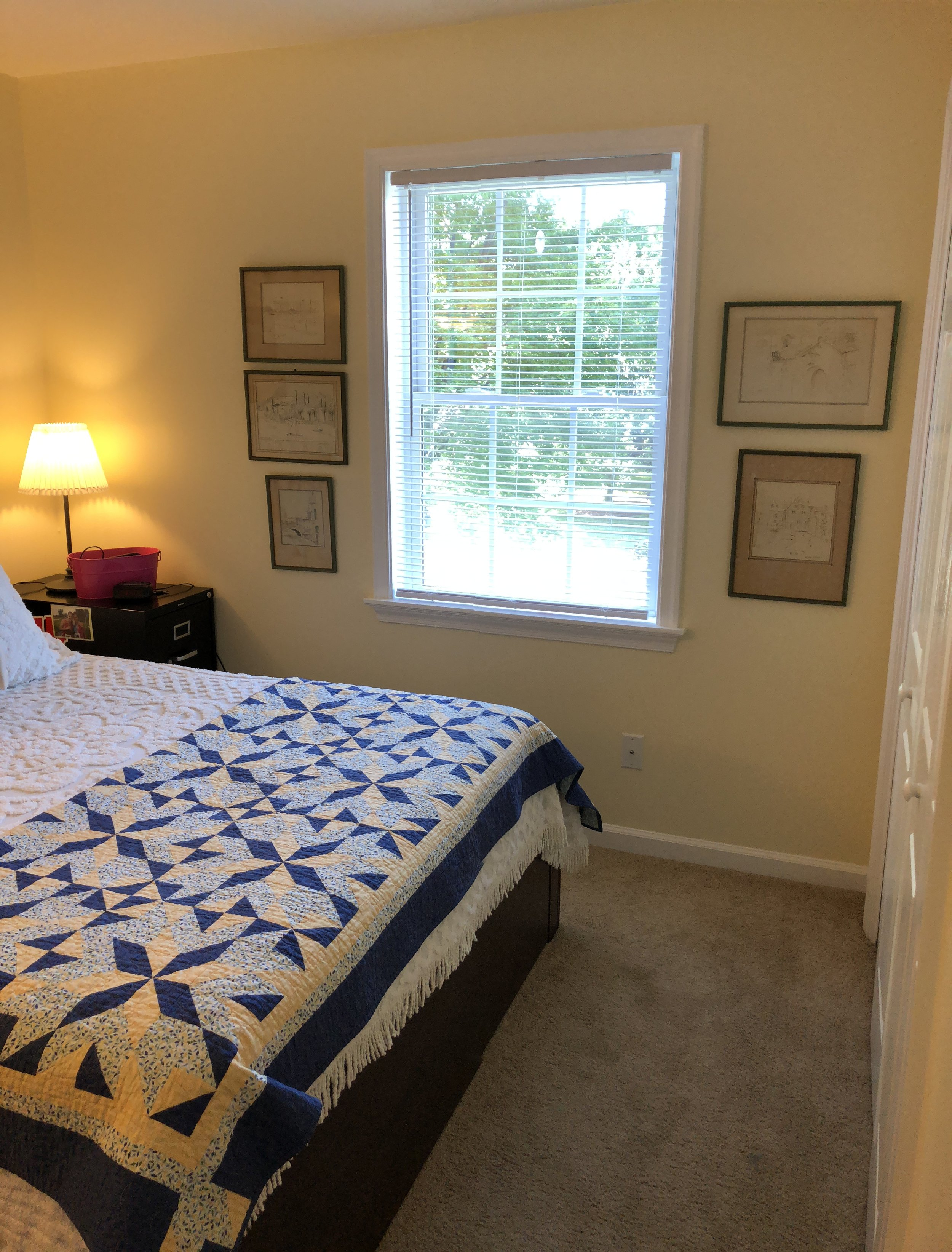 Here is the finished product of the first bedroom. So much brighter with the paint!