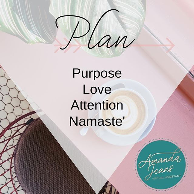The theme for this week is #planning, and I have my own formula for this, and it's easy to remember! P.L.A.N. Purpose: give your planning #purpose. Be #mindful about the tasks you plan and where you schedule them. Love: breathe #love into your planning. Look at your busy schedule with #thankfulness, thankfulness you get to wake up and live your best life daily. Attention: pay #attention and focus on your planning. Don't rush it. and finally, Namaste': this simply means #breathe and know that all is well even if your process isn't #perfect. #namaste in your overall plan. ⠀ ⠀ Peace, love and planning. +aj