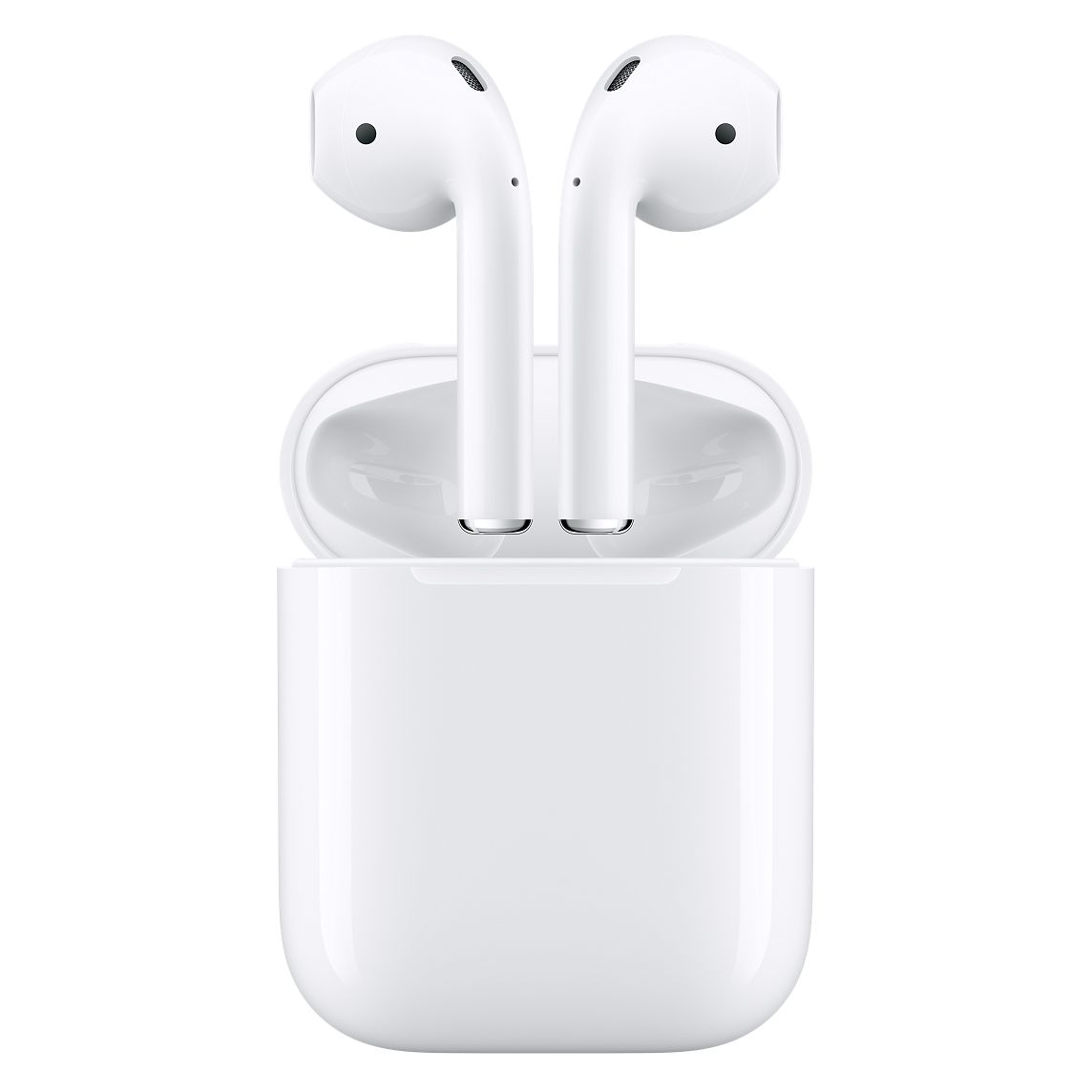 Product Information  Overview  Wireless. Effortless. Magical.  AirPods will forever change the way you use headphones. Whenever you pull your AirPods out of the charging case, they instantly turn on and connect to your iPhone, Apple Watch, iPad, or Mac.(1) Audio automatically plays as soon as you put them in your ears and pauses when you take them out. To adjust the volume, change the song, make a call, or even get directions, just double-tap to activate Siri.  Driven by the custom Apple W1 chip, AirPods use optical sensors and a motion accelerometer to detect when they're in your ears. Whether you're using both AirPods or just one, the W1 chip automatically routes the audio and engages the microphone. And when you're on a call or talking to Siri, an additional accelerometer works with beamforming microphones to filter out background noise and focus on the sound of your voice. Because the ultralow-power W1 chip manages battery life so well, AirPods deliver an industry-leading 5 hours of listening time on one charge.(2) And they're made to keep up with you, thanks to a charging case that holds multiple additional charges for more than 24 hours of listening time.(3) Need a quick charge? Just 15 minutes in the case gives you 3 hours of listening time.(4)  Highlights  Designed by Apple  Automatically on, automatically connected  One-tap setup for all your Apple devices(1)  Quick access to Siri with a double-tap  More than 24-hour battery life with Charging Case(3)  Charges quickly in the case  Rich, high-quality audio and voice  Seamless switching between devices  Tech Specs  Bluetooth  Wireless  Weight  AirPods (each): 0.14 ounces (4 g)  Charging Case: 1.34 ounces (38 g)  Dimensions  AirPods (each): 0.65 by 0.71 by 1.59 inches (16.5 by 18.0 by 40.5 mm)  Charging Case: 1.74 by 0.84 by 2.11 inches (44.3 by 21.3 by 53.5 mm)  Connections  AirPods: Bluetooth  Charging Case: Lightning connector  AirPods Sensors (each):  Dual beam-forming microphones  Dual optical sensors  Mo