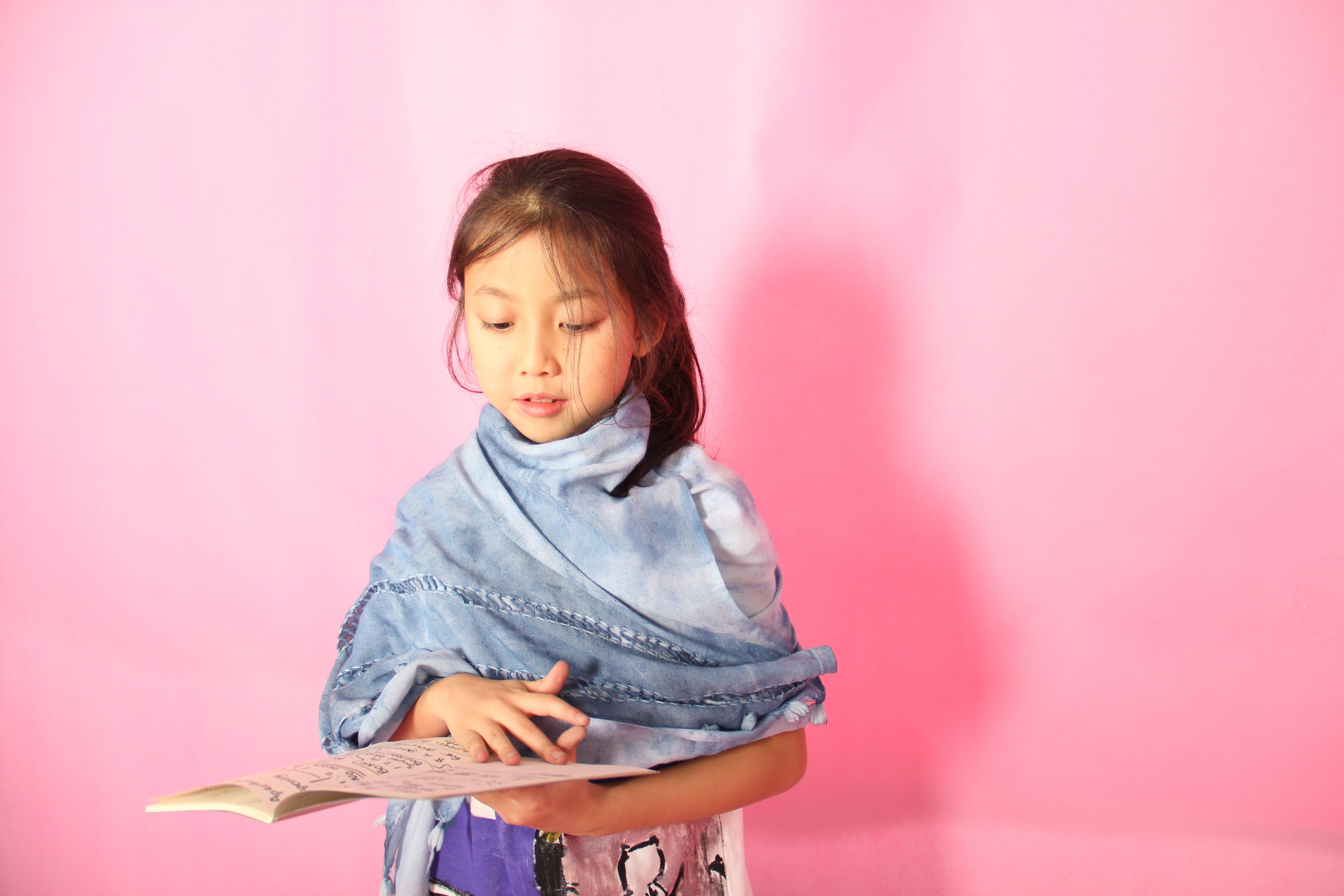 Shibori Indigo-dyed Linen Scarf  crafted and modelled by Sophia