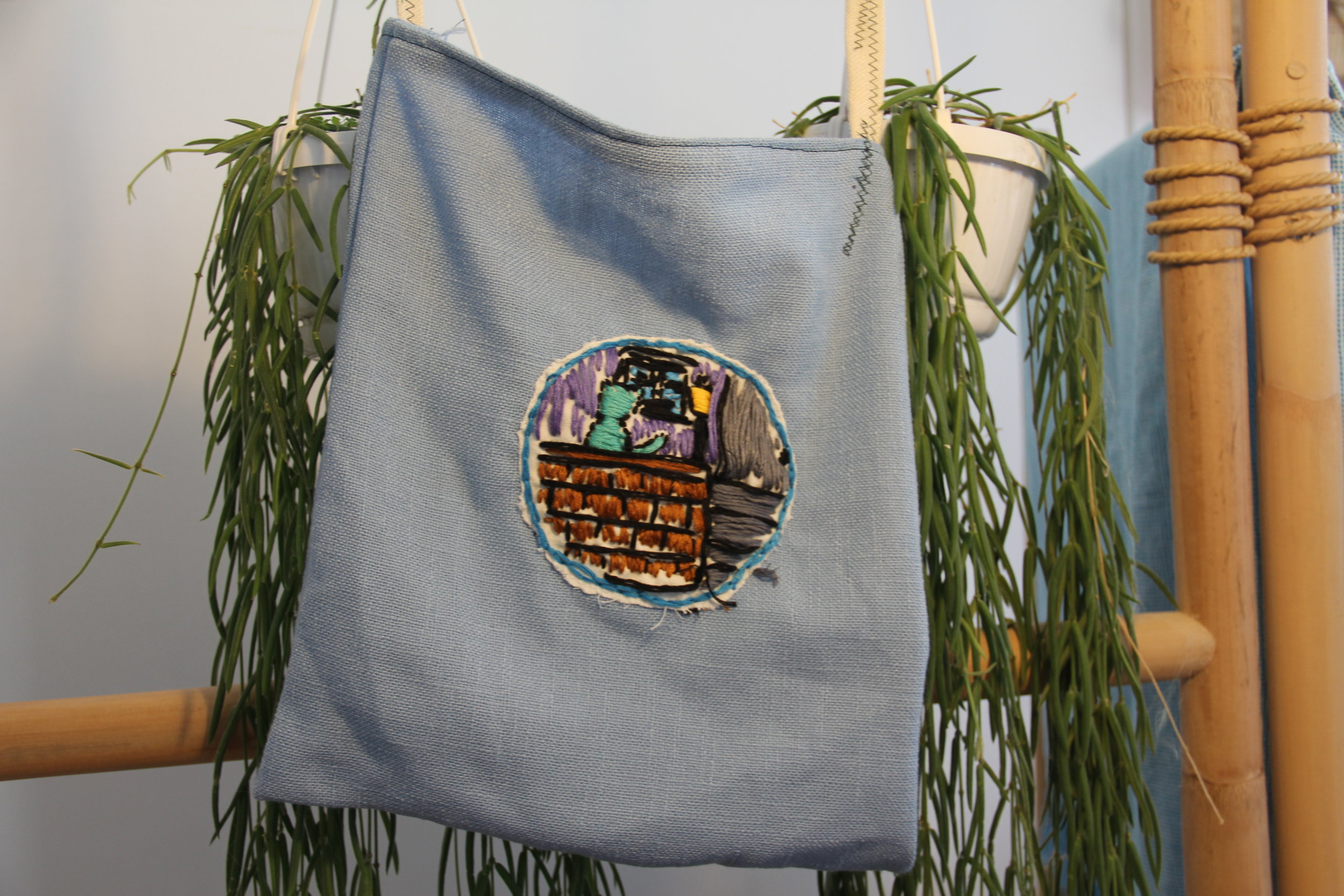 House of Cats Embroidered Tote  handmade by Sophia