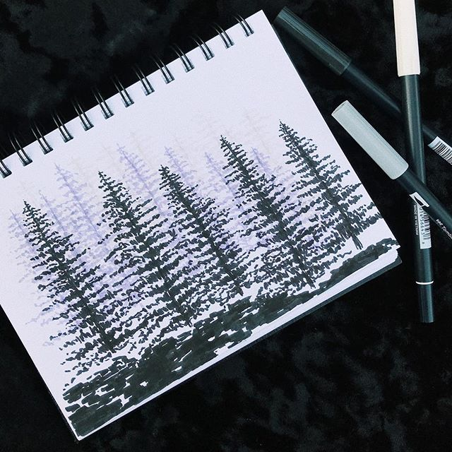 It's impossible to walk into @artessentialssb without coming home with some new and unplanned toys. Trying out my new @tombowusa greyscale brush pens on a spooky little forest because that's the only place I want to be right now. Also now that it is sort-of fall-ish please expect my inner goth to make regular appearances. 💀👻🧛🏻♀️⚰️🖤 • • • #sketchbook #brushpen #brushpens #secretgoth