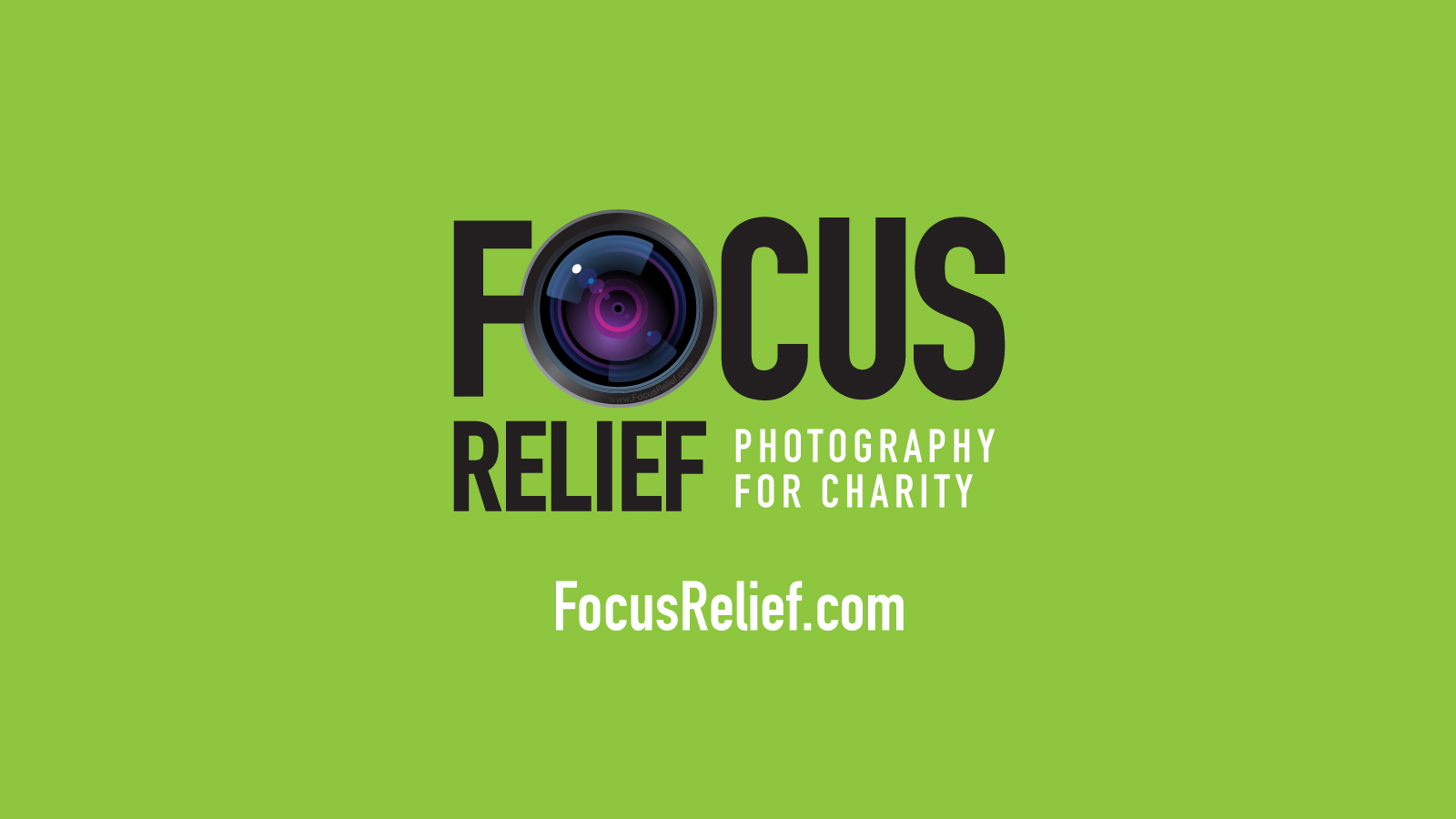 Focus Relief Logo with URL and Focus Green Background