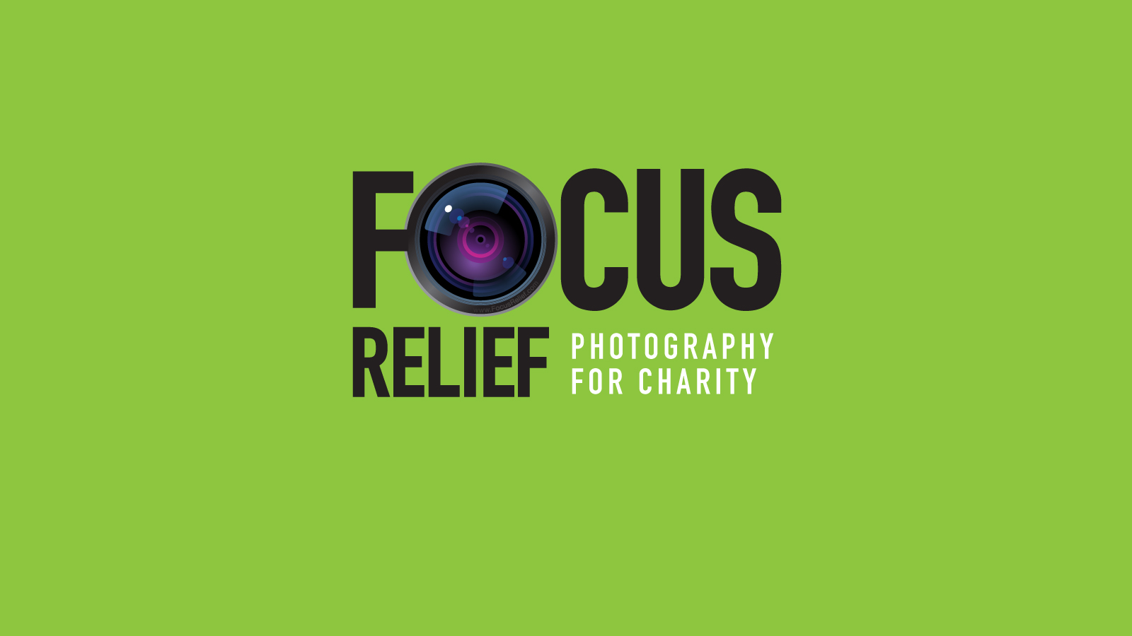 Focus Relief Logo on Focus Green Background