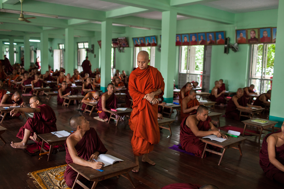 June 08, 2013 - Mandalay, Myanmar. Monk Virathu supervises on exam at Masoeyein Monastery in Mandalay. Since publicly promoting the 969 movement (later called Ma Ba Tha) on social networks, Virathu has been labeled as the Buddhist Bin Laden. © Nicolas Axelrod / Ruom Collective