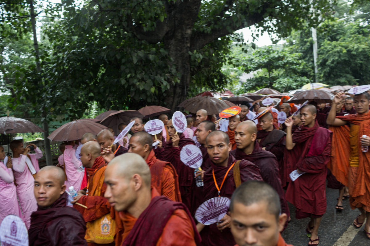 Sept. 21, 2015 - Mandalay, Myanmar. Monk supporters of the Ma Ba Tha walk through the streets of Mandalay during an event promoting the passing of four laws known collectively as the 'Race and Religion Protection Laws'. © Nicolas Axelrod / Ruom
