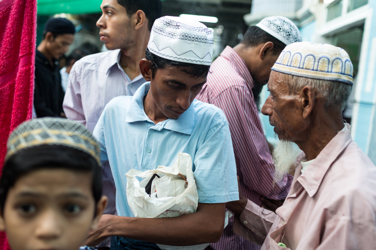 Sept. 21, 2015 - Mandalay, Myanmar. People gather for prayer on the morning of Eid al Adha. © Nicolas Axelrod / Ruom