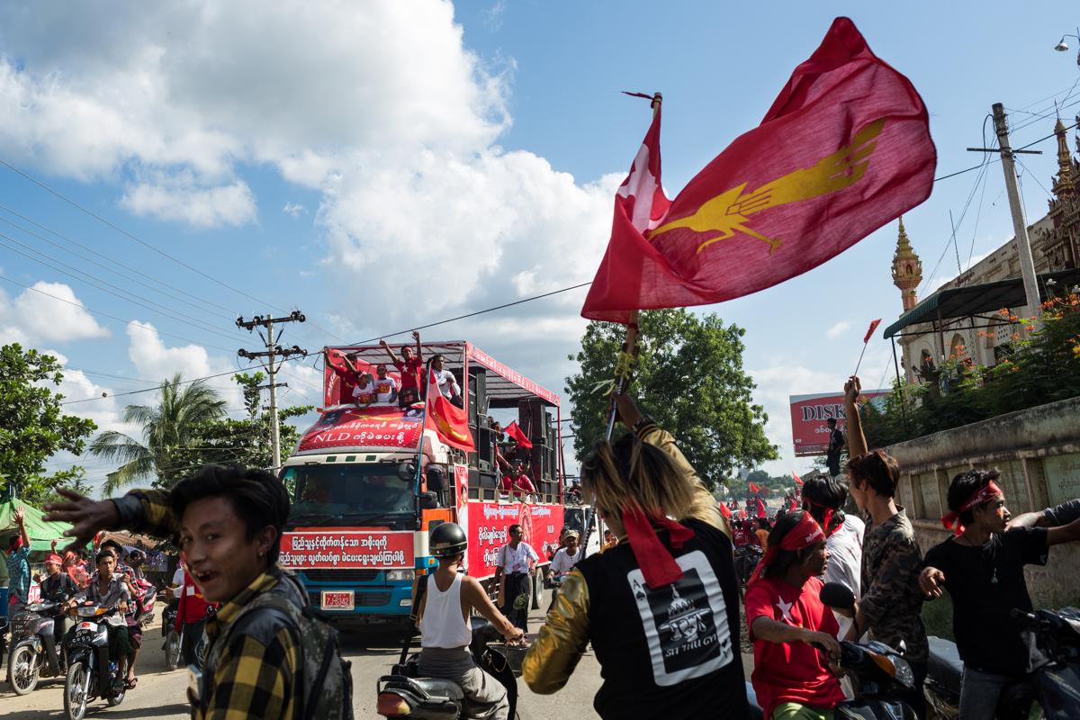 Nov. 03, 2015 - Meiktila, Myanmar. NLD supporters during a rally. © Nicolas Axelrod / Ruom