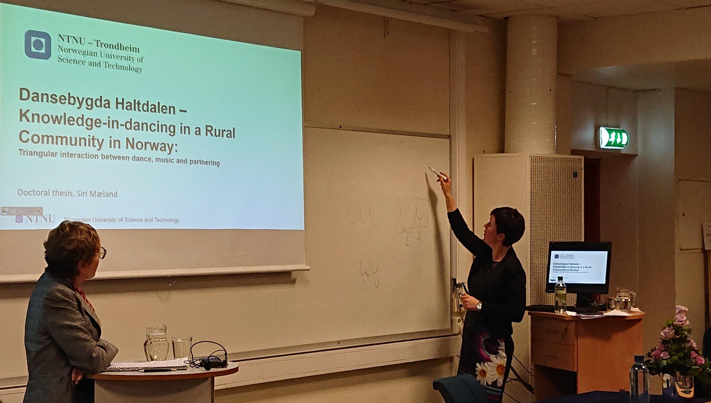 Publikum fikk et innblikk i Siri sine feltopphold på bygdefest i Holtålen og førsteopponent Theresa Jill Buckland (University of Roehampton, London) fikk en demonstrasjon av svikt og sviktkurver.
