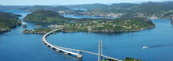"""Nordhordlandsbrua"" is a 1609 meter long floating bridge. The floating part is 1243 meter and makes it the world´s longest floating bridge without side mooorings."