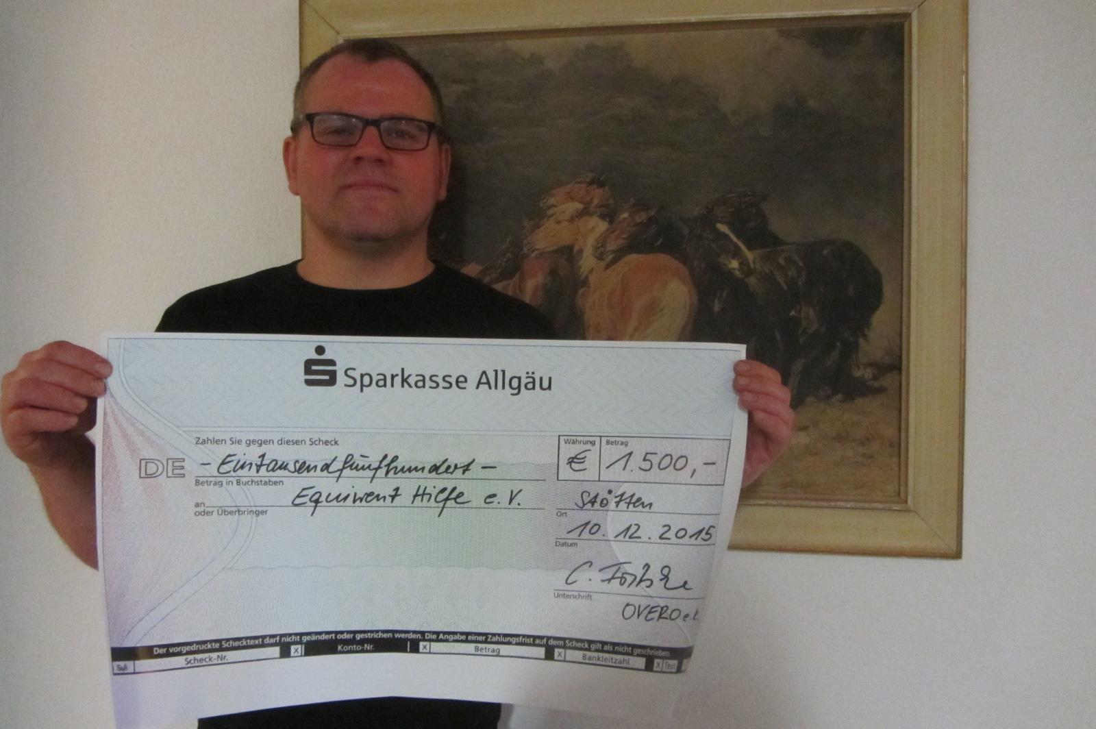 so sieht er aus der dicke Scheck von Frau Fritsch!   1500.00 Euro!