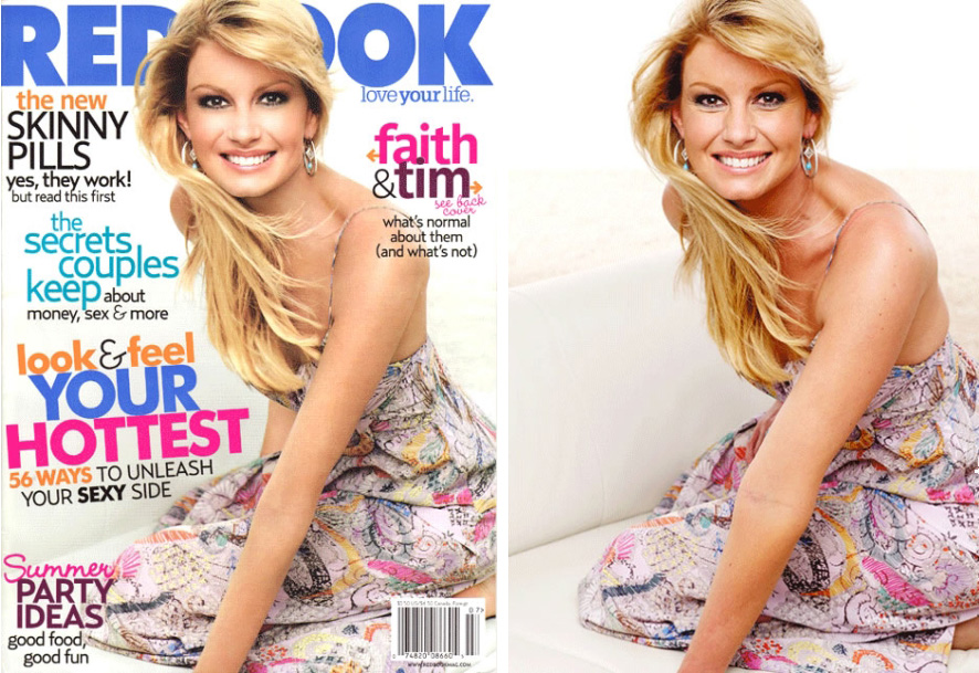 Original Image on the right. On the final edited version on the magazine cover, notice how the arms have been slimmed, the neck/shoulder have been adjusted and her back has been slimmed and contoured.