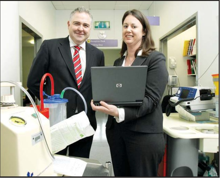 Dermot Cullian and Martina Corcoran of the St. Vincent's IT team