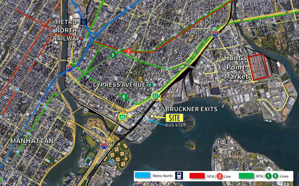 Near all major roads including Bruckner Expressway (I-278), Major Deegan (I-87), New England Thruway (I-95); immediate access from RFK Bridge -