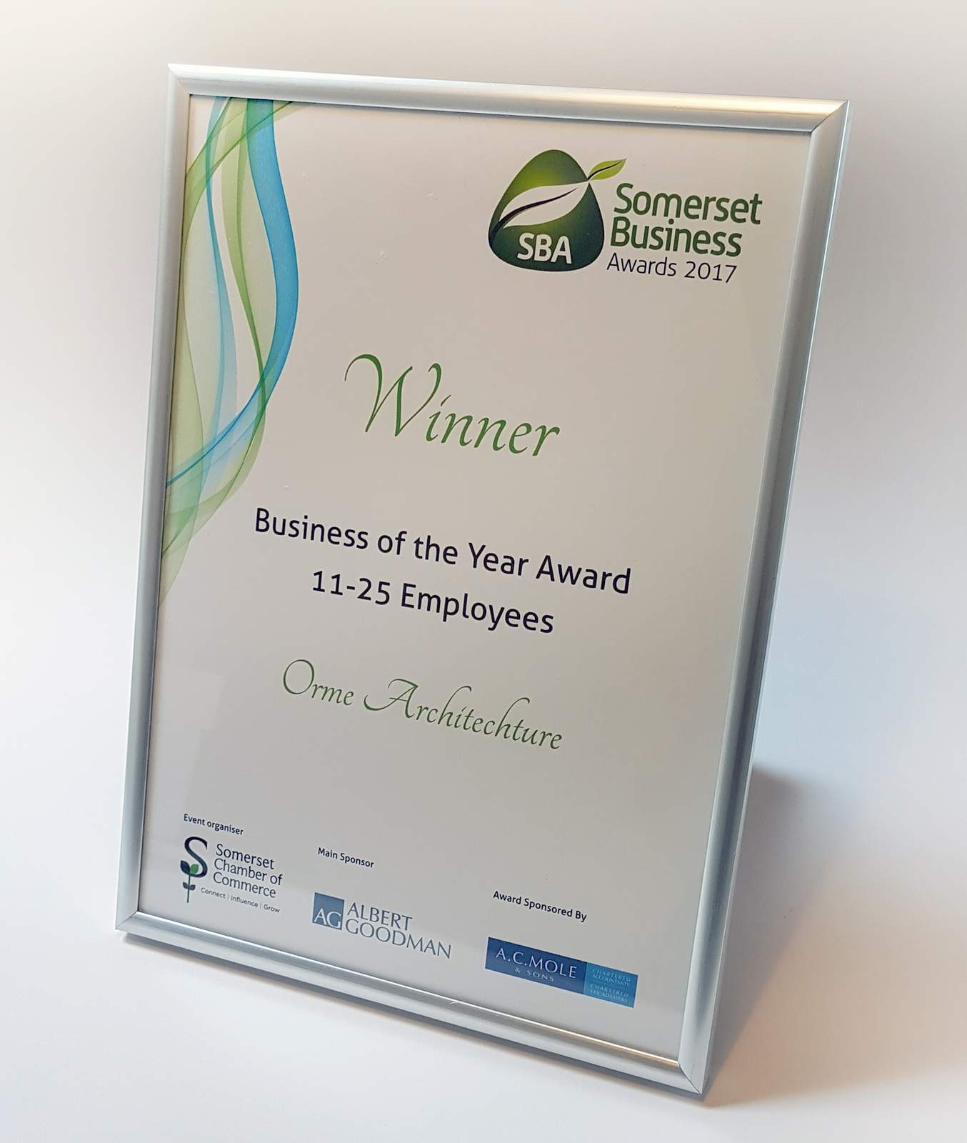 Winner - Somerset Business of the Year Award 2017 - Winner of the Somerset Business of the Year Award 2017 in the 11-25 employees category