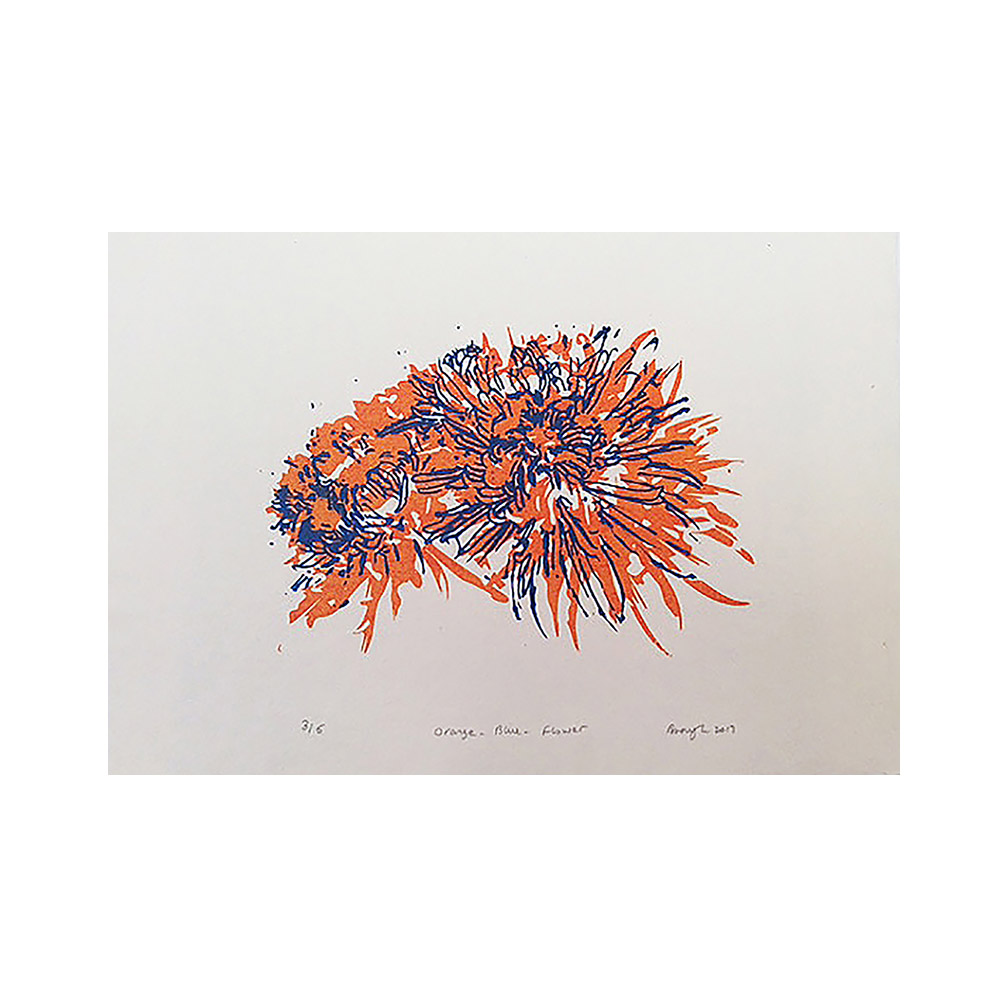 Orange Blue Flower_screen print on  handmade paper_edition of 5_42 cm x 30 cm _2017.jpg