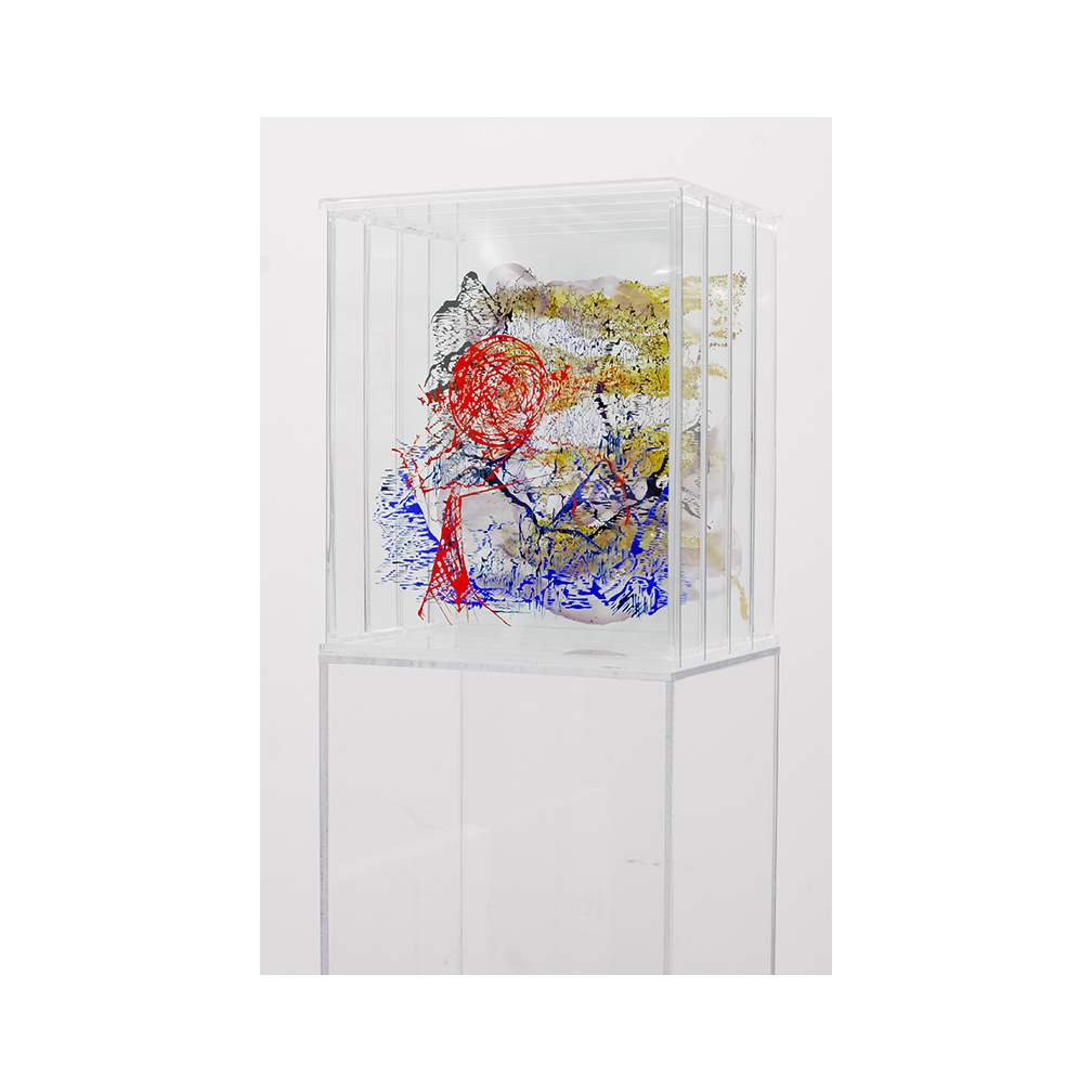 15_Barcelona_side view_5 layers of painted and fired glass in plexiglas holder with plexiglas pedestal_ 50 cm x 30 cm_private collection Omaha_2007.jpg
