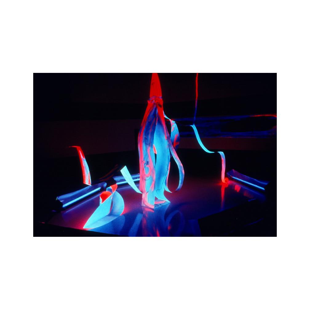 16_Mother and Child_ alluminium flourescent paint and black light_300 cm x 150 cm x 50 cm_Leedy-Voulkus Gallery, Kansas_1995_email.jpg