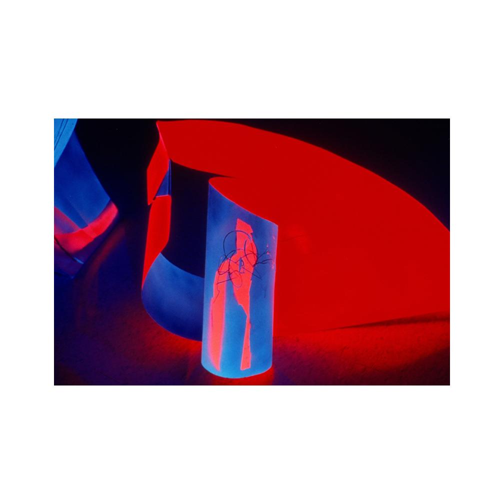 21_Mother and Child_ alluminium flourescent paint and black light_300 cm x 150 cm x 50 cm_Leedy-Voulkus Gallery, Kansas_1995_email.jpg