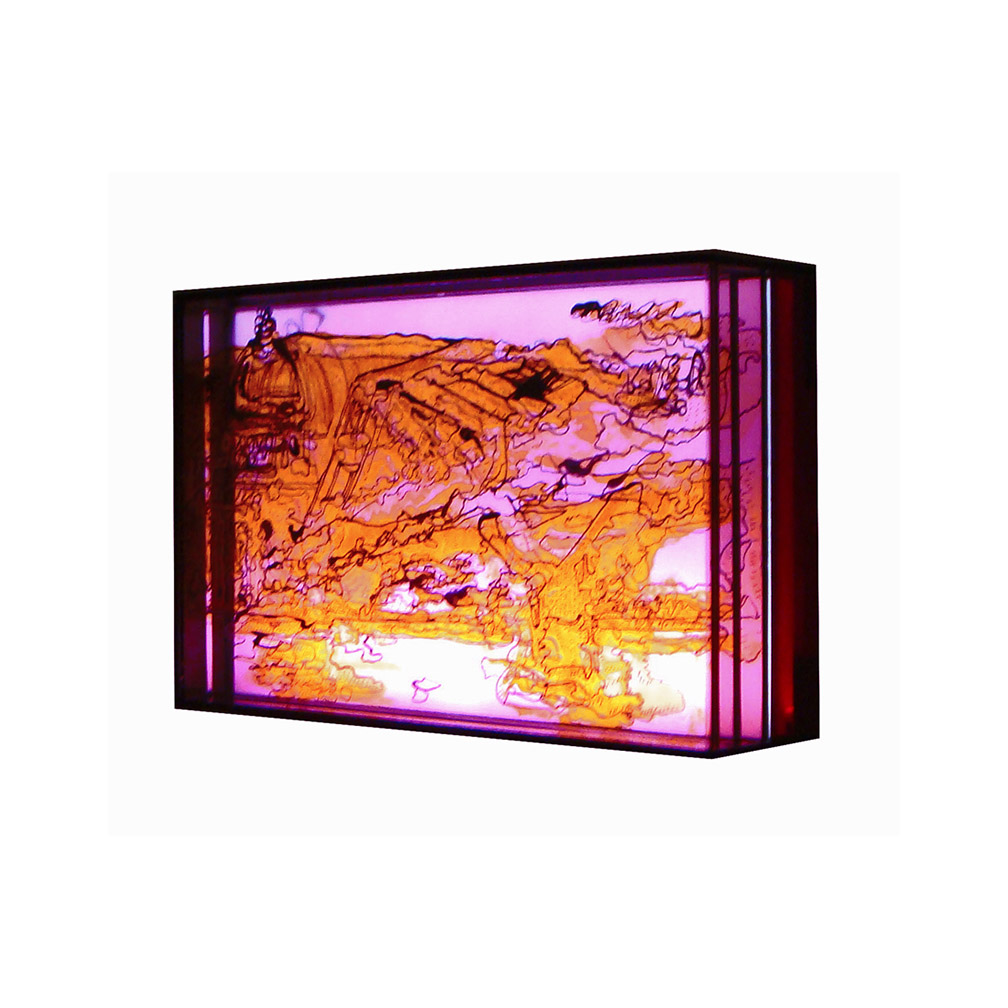 02_Blackfriars pink_side view_20 cm x 13 cm x 5 cm_painted and fired glass with LED light panel_private collection UK_2013.jpg