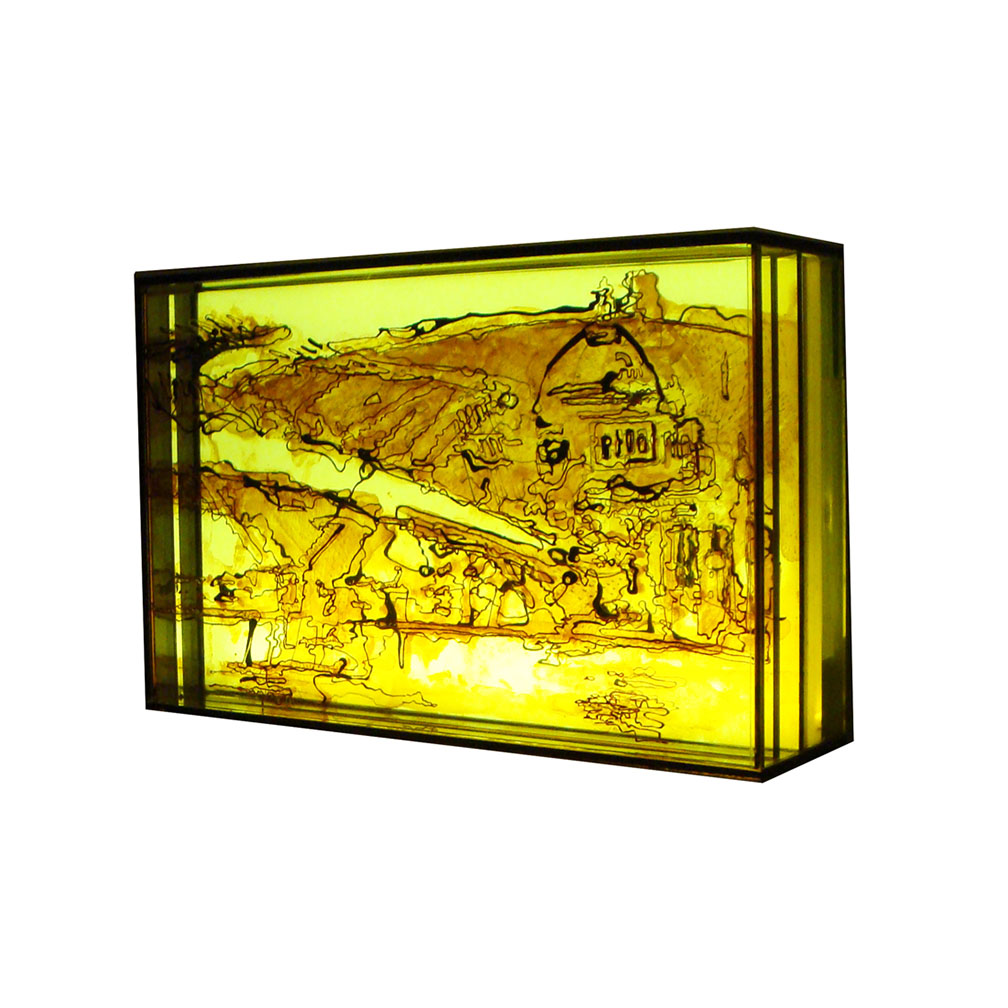 04_Blackfriars yellow_side view_20 cm x 13 cm x 5 cm_painted and fired glass with LED light panel_private collection UK_2013.jpg