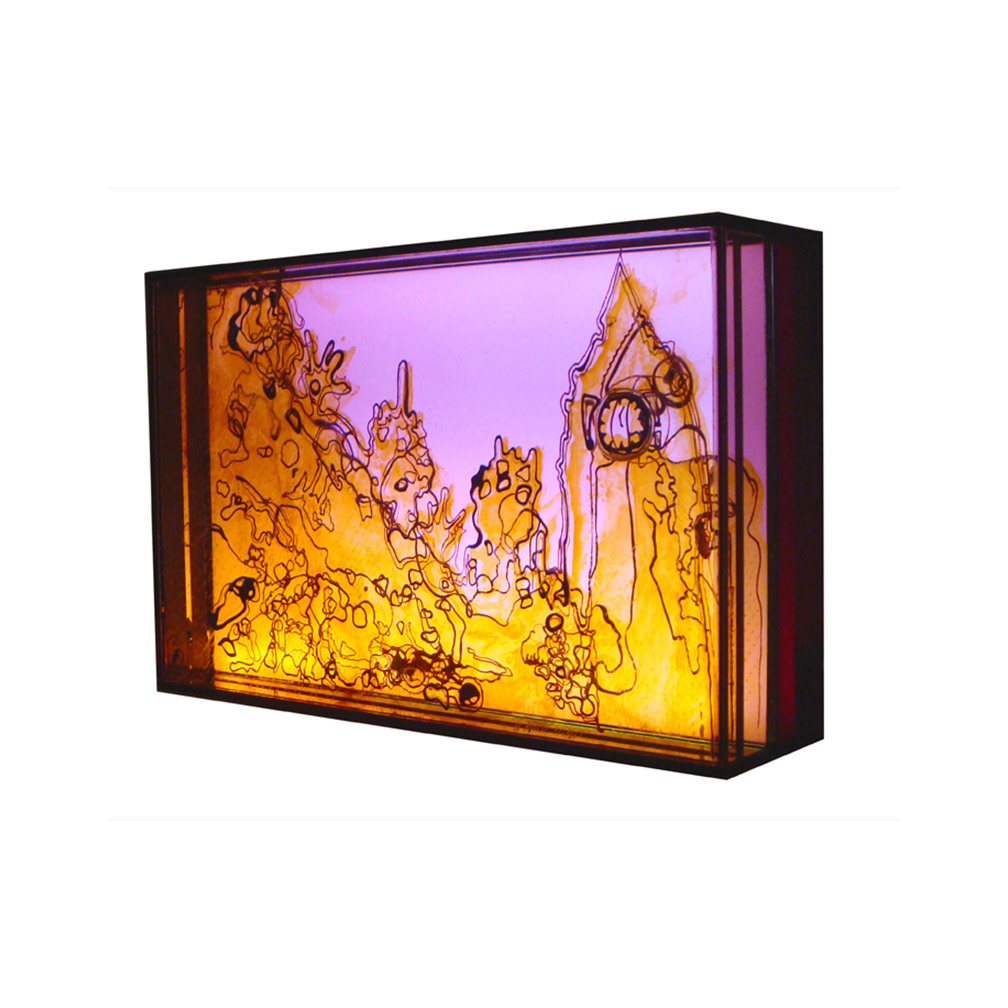 06_Westminster Pink_side view_20 cm x 13 cm x 5 cm_painted and fired glass with LED light panel_private collection UK_2013.jpg