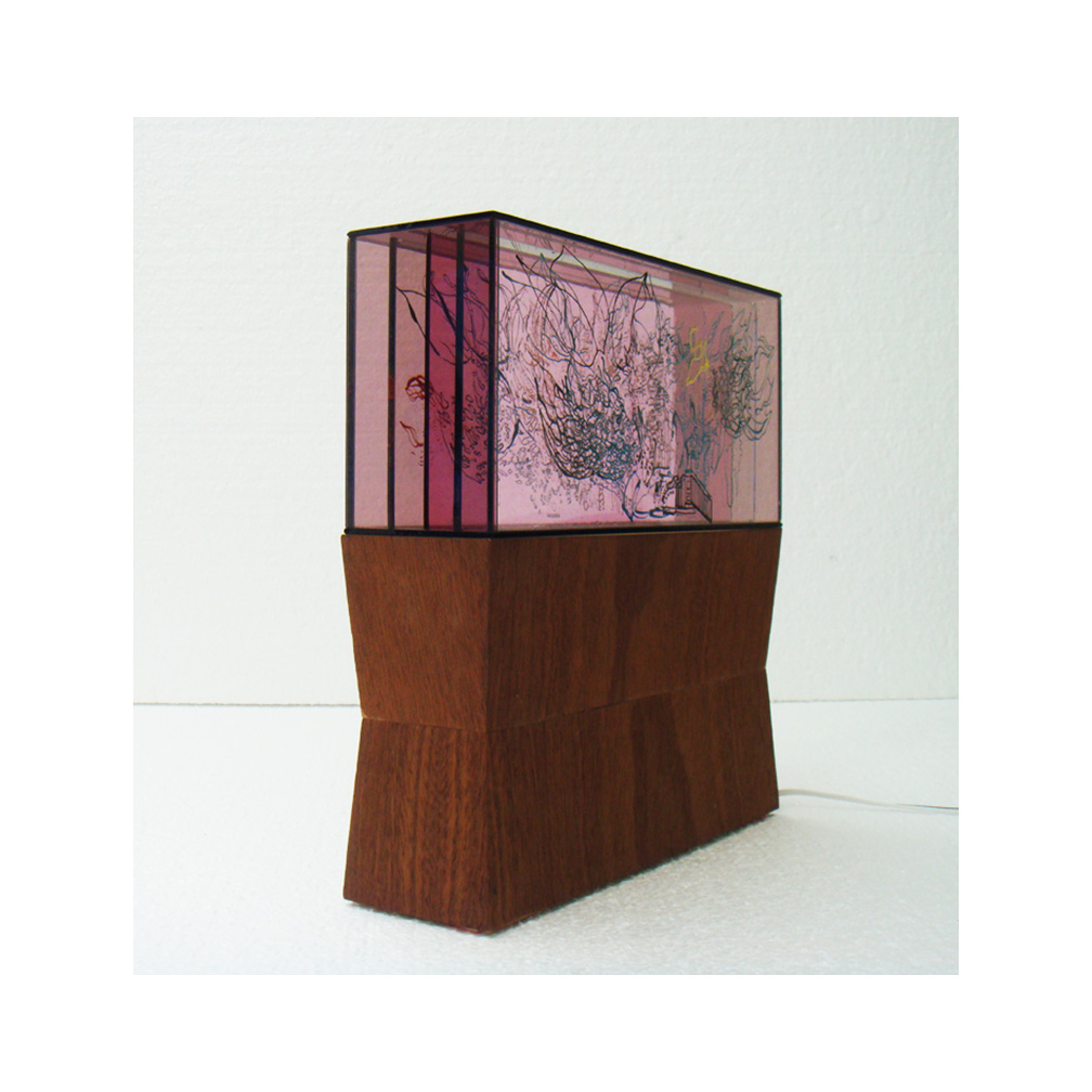 23_Luminous 3 Pink_5 layers of painted and fired glass with LED light panel and wooden pedestal_27cm x 13 cm x 8cm_plinth 27 cm x 15 cm x 8 cm_2013.jpg