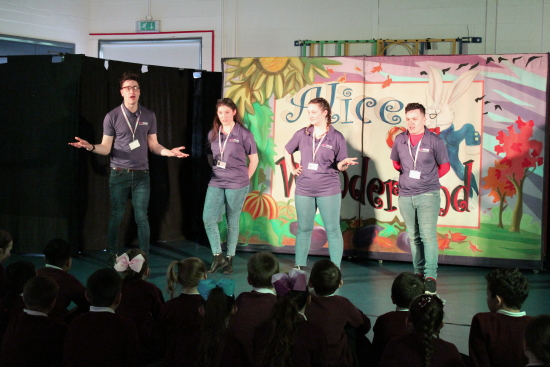 After the performance Year 5 were invited to stay behind to learn about what goes into making a show like there's