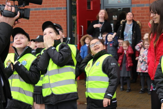 To welcome the boys and girls the National Air Police Support (NPAS) helicopter performed a low fly pass over the school which the children thoroughly enjoyed.