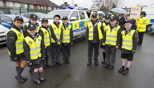 After the fly by the whole school got the chance to meet other units of the Merseyside police force.