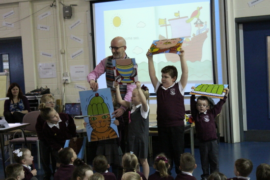 Reception, Year 1, Year 2 and Year 3 were treated with serveral readings from his books and poems.