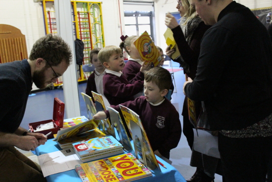 After the assembly the children had the opportunity to buy one of Nick's books and get it signed.