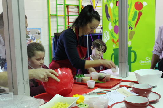 On the Red team we had; Mrs Parry, Daisy and Dylan. They were preparing vegitable stir fry with Thai salmon fish cakes.