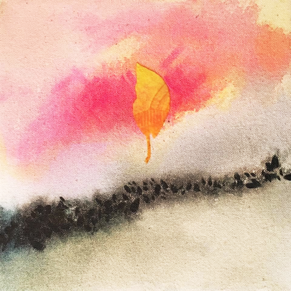 Indicios: Otoño  (2017-18). Silk , acrylic, & ink on canvas.