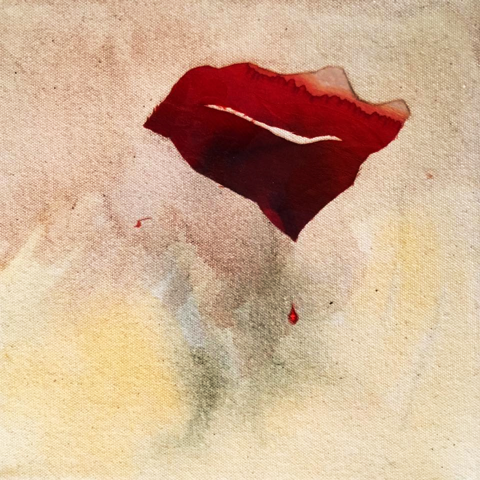 Indicios: Allende  (2018-18). Silk , acrylic, & ink on canvas.