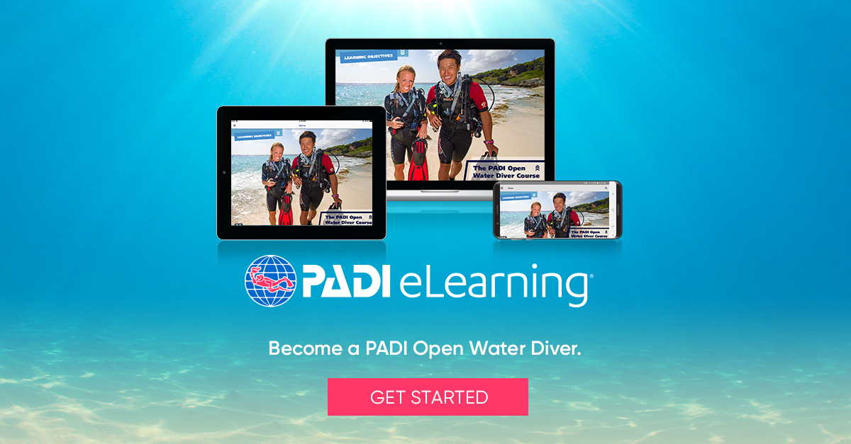 *PADI eLearning allows you to study theory at home. Theory materials will be pay to PADI directly, when booking though our website make sure to choose the option OWD elearning!
