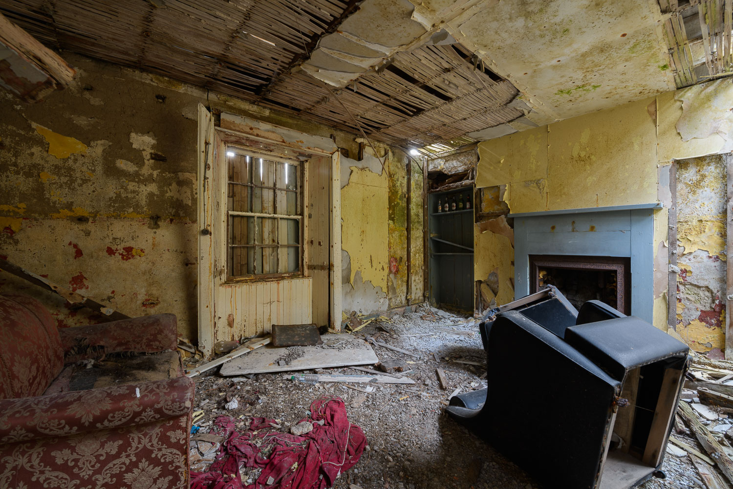 The inside of the disused tea rooms in a derelict building, Ails