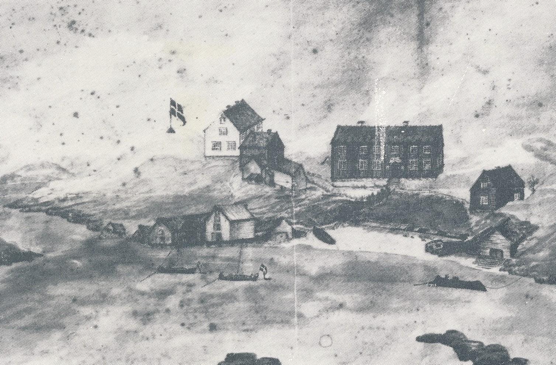 Slik så bebyggelsen på Aunøya ut ca 1812. Strektegning laget av Paul Andreas Kaald (kaperkaptein Kaald). .