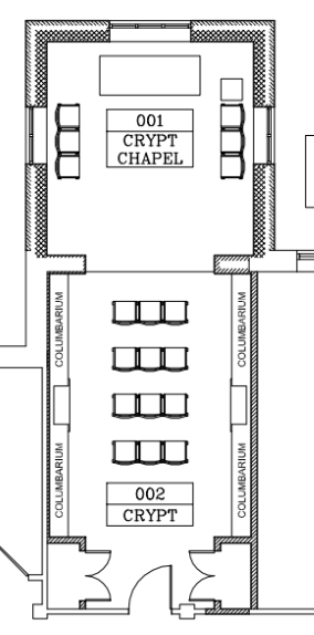 The crypt and chapel is only new addition to the buildings. The crypt will be able to receive around 200 niches. The chapel will be appropriate for daily masses, anniversary requiems and the Altar of Repose for Maundy Thursday. (click to enlarge)